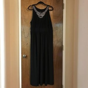 Black Maxi Dress with Silver Neck Detail